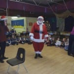 Santa's visit to our Christmas party,